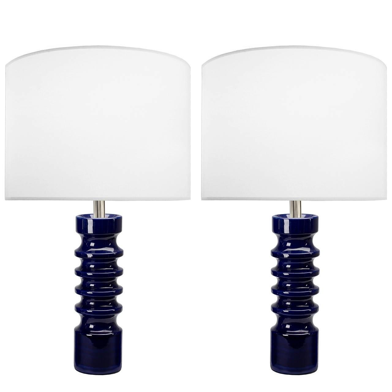 Pair of Sculptural German Blue Ceramic Lamps