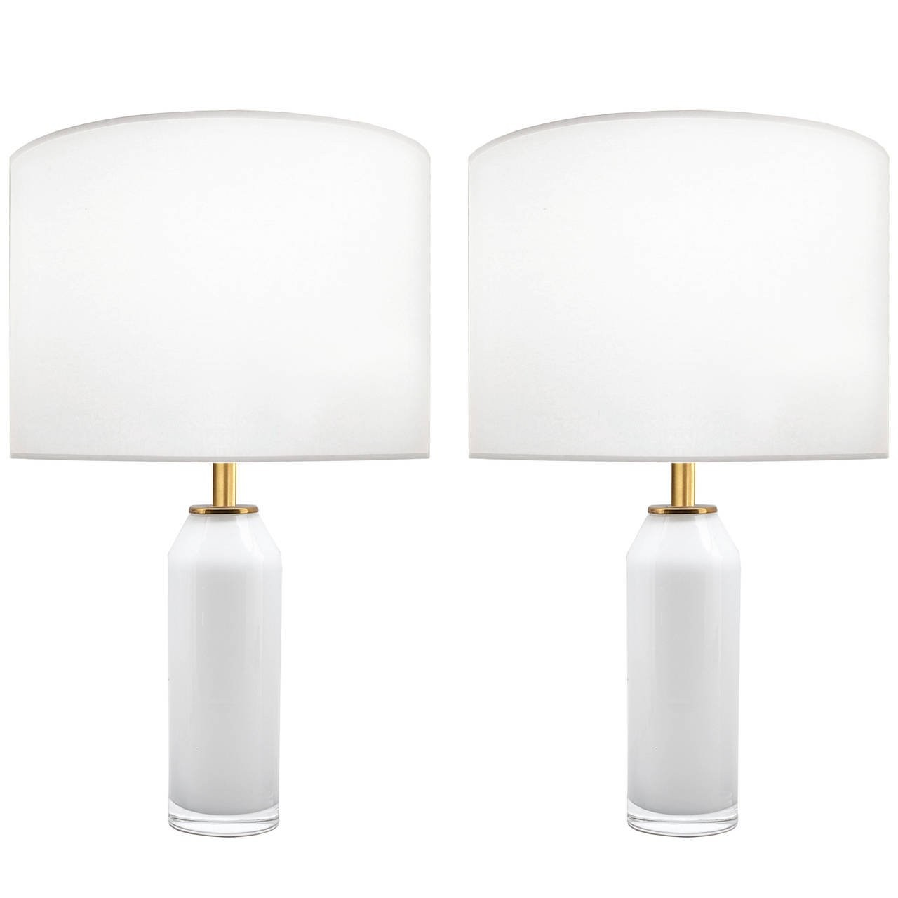 Pair of Nils Landberg for Orrefors White Glass Lamps