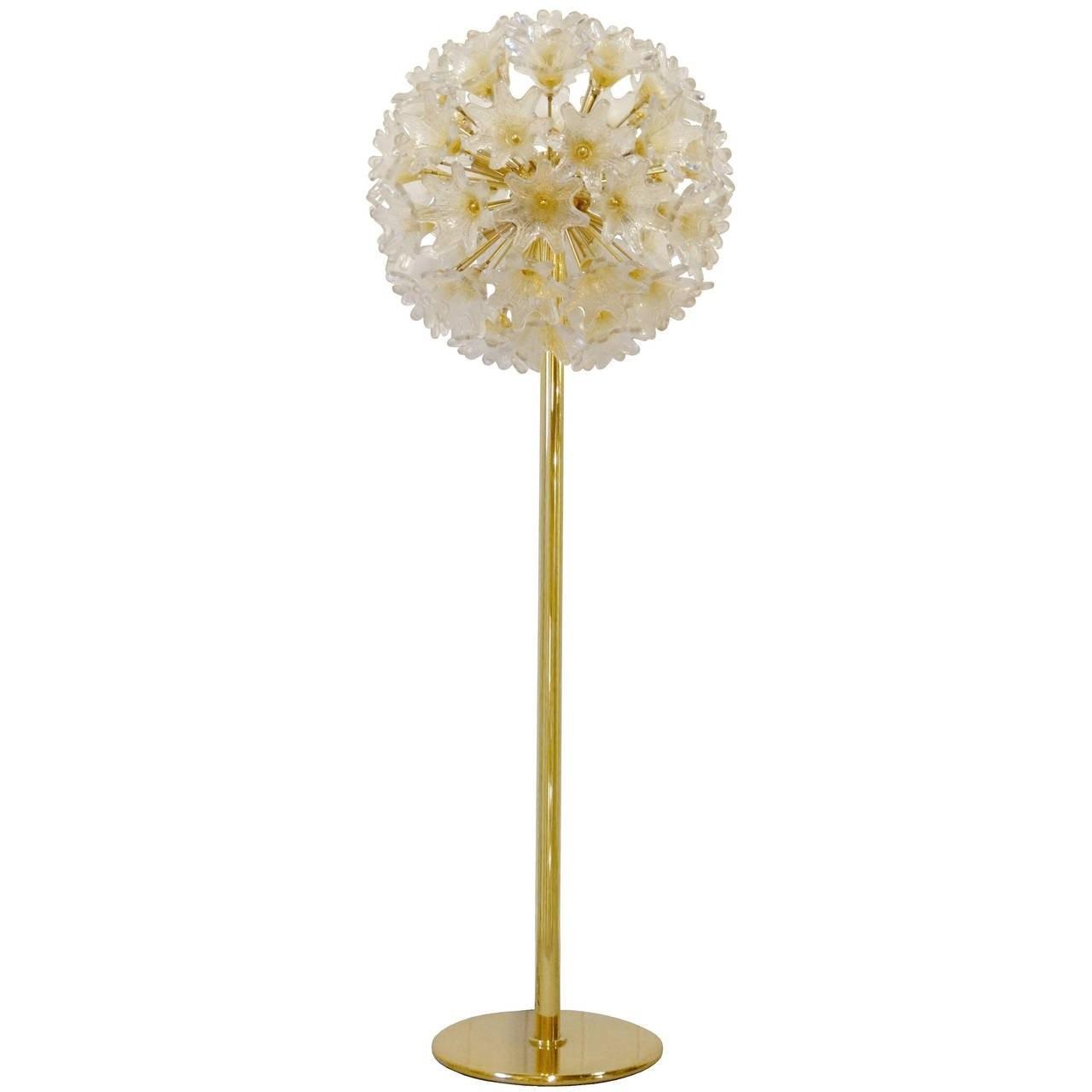 Pair of Murano Glass Flower Ball Floor Lamp