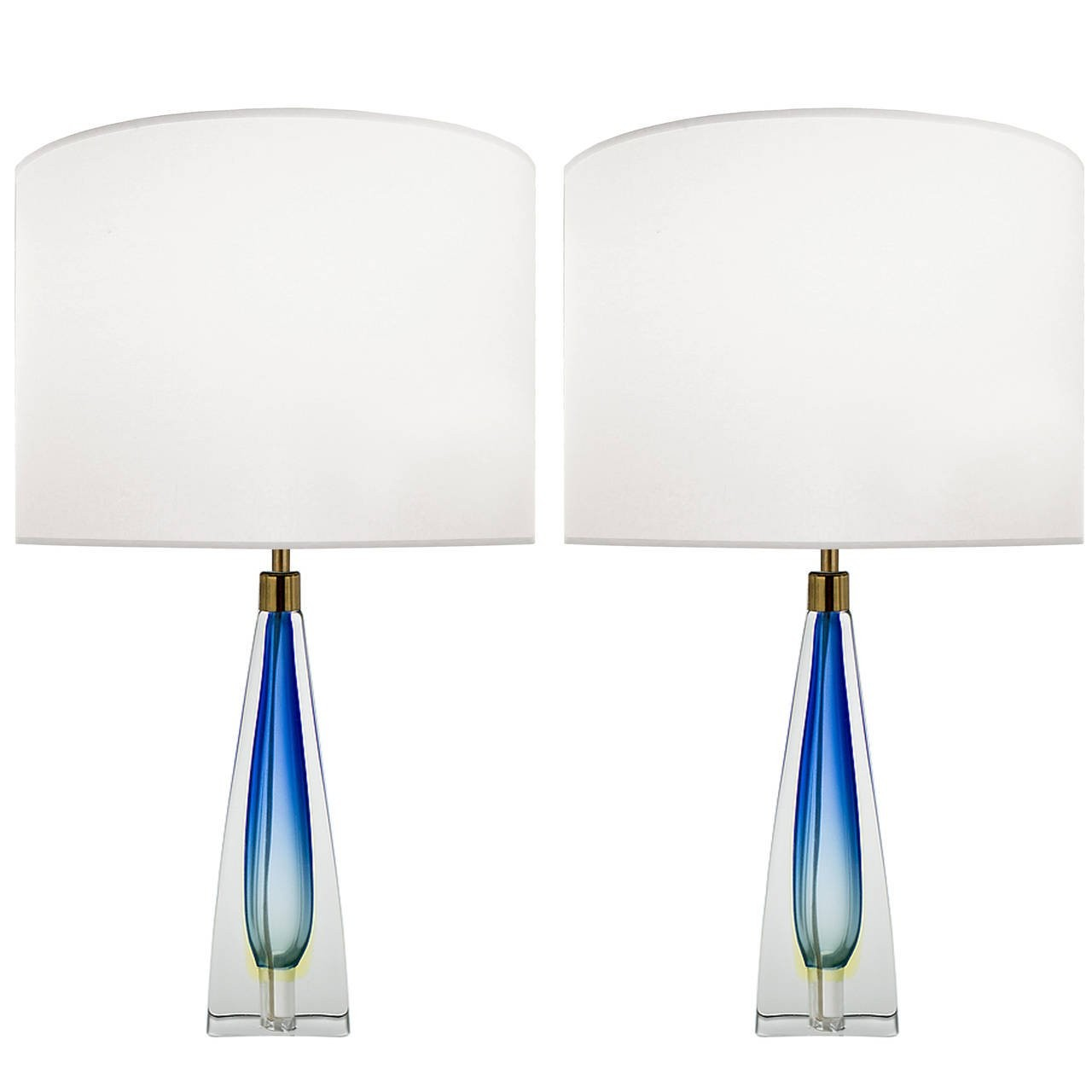 Pair of Italian Blue and Clear Glass Lamps