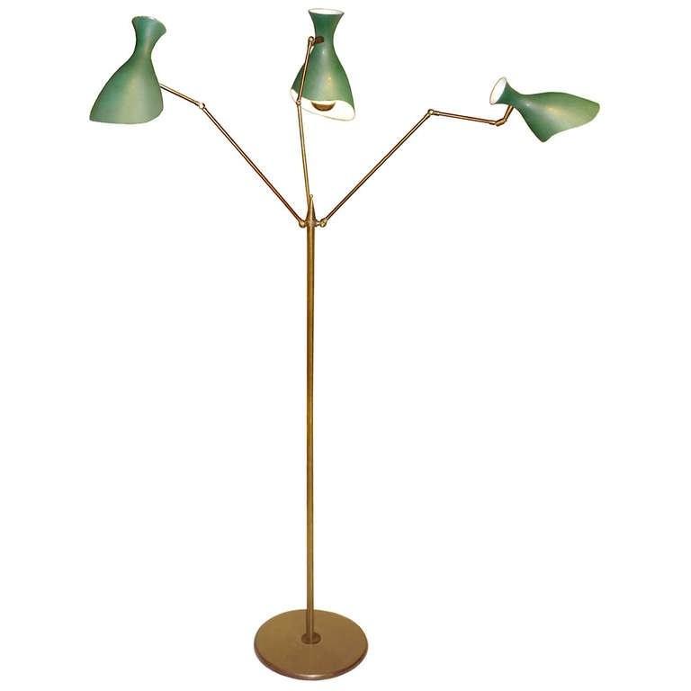Italian Three-Arm Brass Floor Lamp by Arredoluce