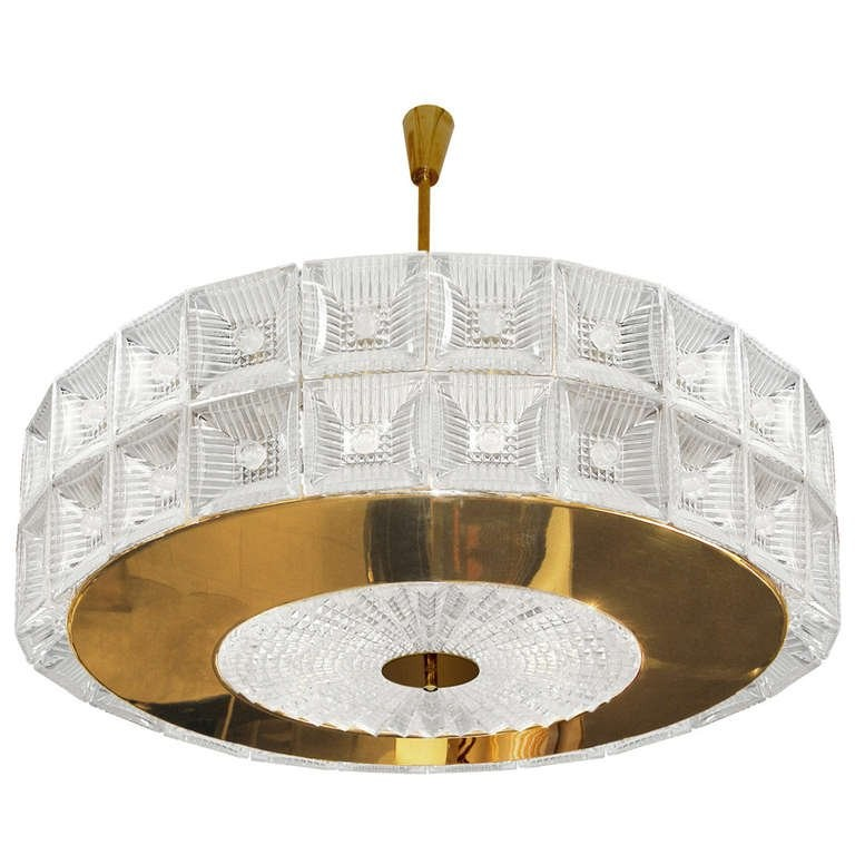 Orrefors Large Brass and Glass Chandelier