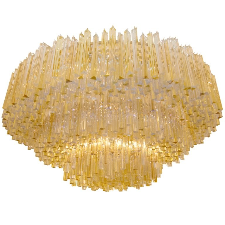 Three-Tiered Amber and Clear Glass Chandelier