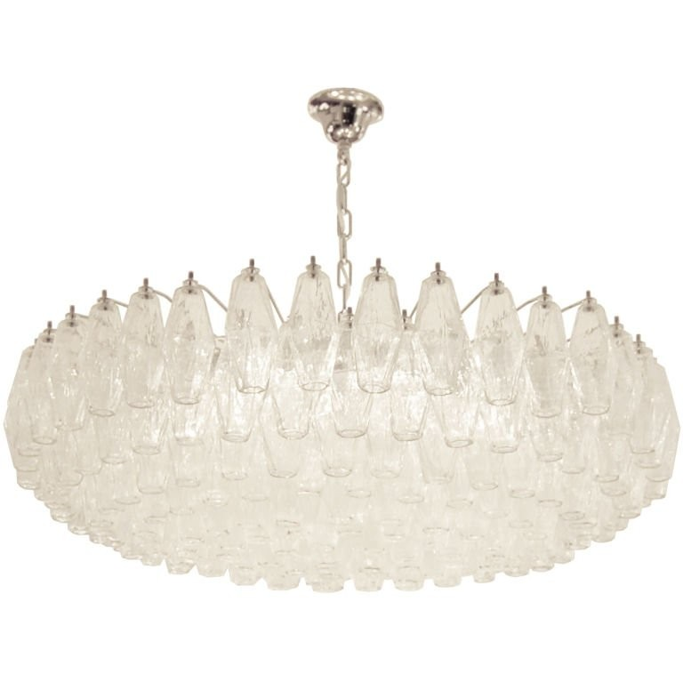 Venini Polyhedral Clear Glass Chandelier