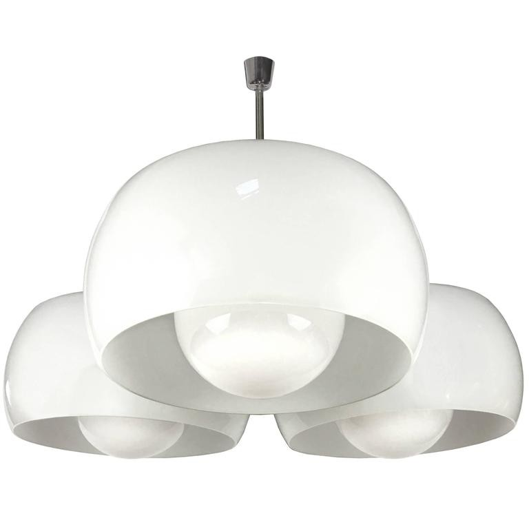 Large Triclinio White Glass Fixture by Vico Magistretti