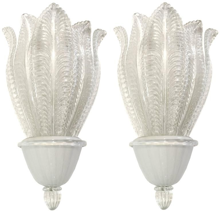 Pair of Large Barovier Glass Leaf Sconces ( 5 Sconces Available )