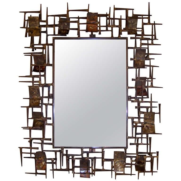 Sculptual Brutalist Mirror by Silas Seandel