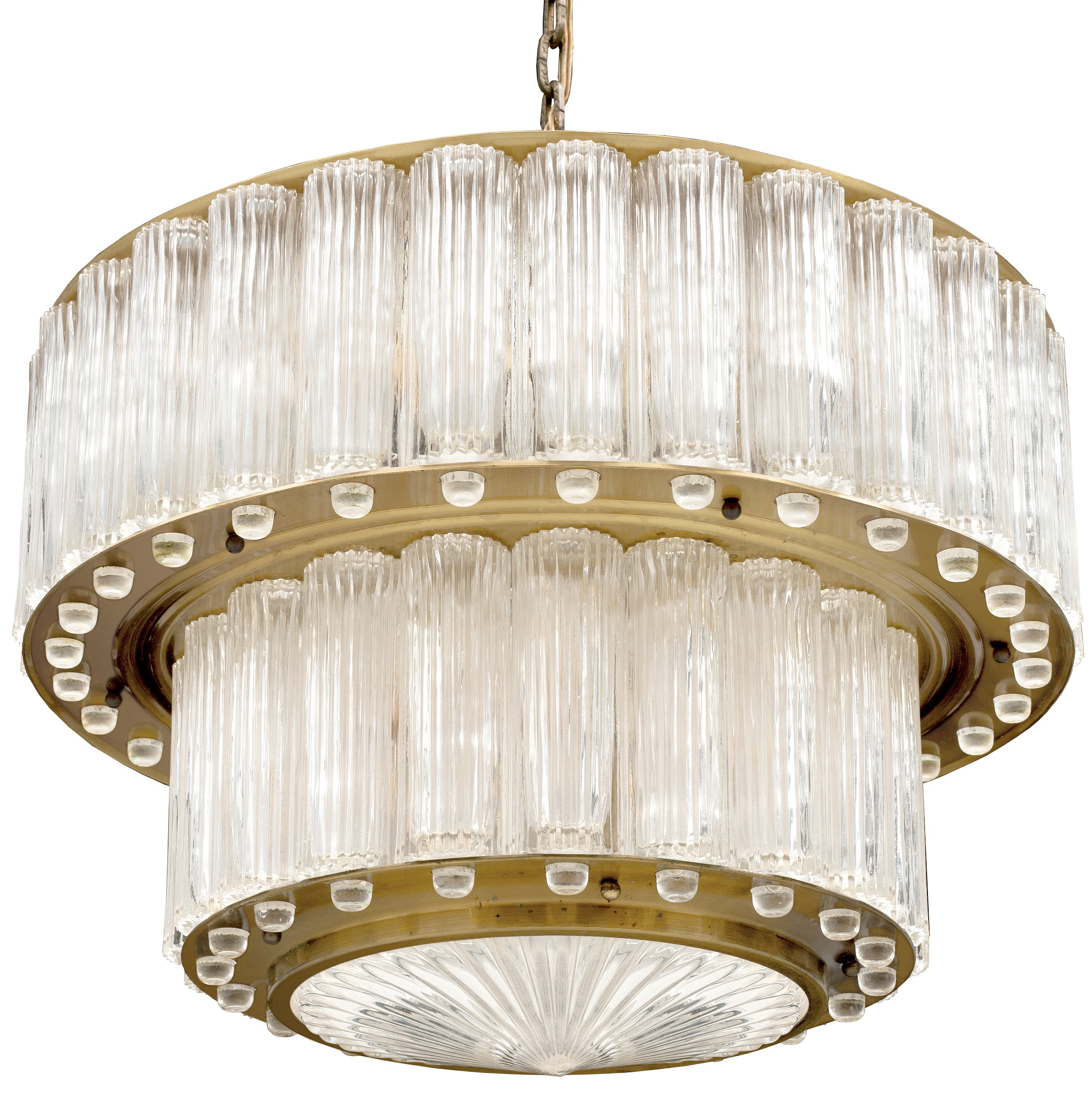 1940s austrian two tiered fluted glass and brass chandelier 1940s austrian two tiered fluted glass and brass chandelier chandeliers and pendants lighting inventory aloadofball Image collections