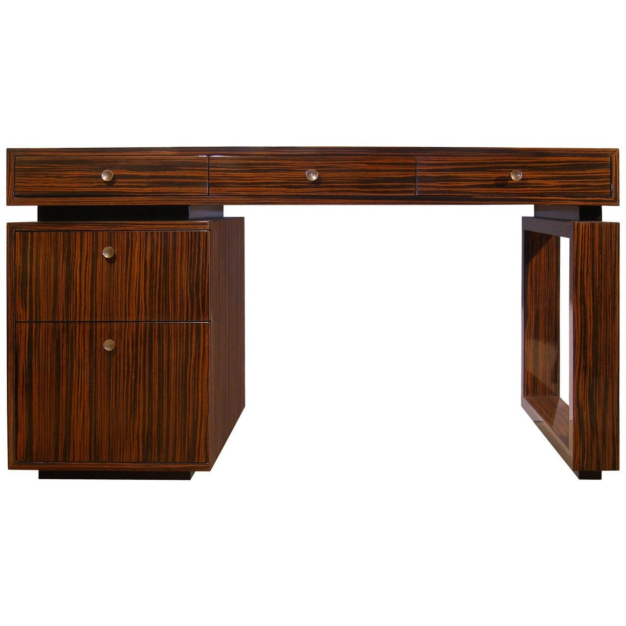 Macassar Ebony Desk with Bronze Pulls