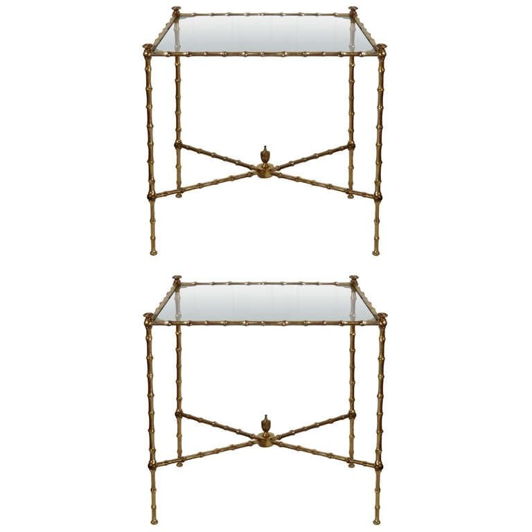 Pair of Bronze Bamboo Tables with Glass Tops by Masion Bagues