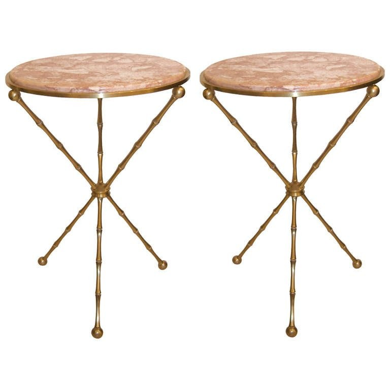 Pair of French Bronze Bamboo Side Tables with Marble Tops
