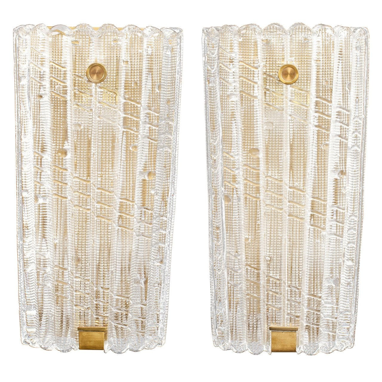 Pair of Carl Fagerlund for Orrefors Glass Sconces