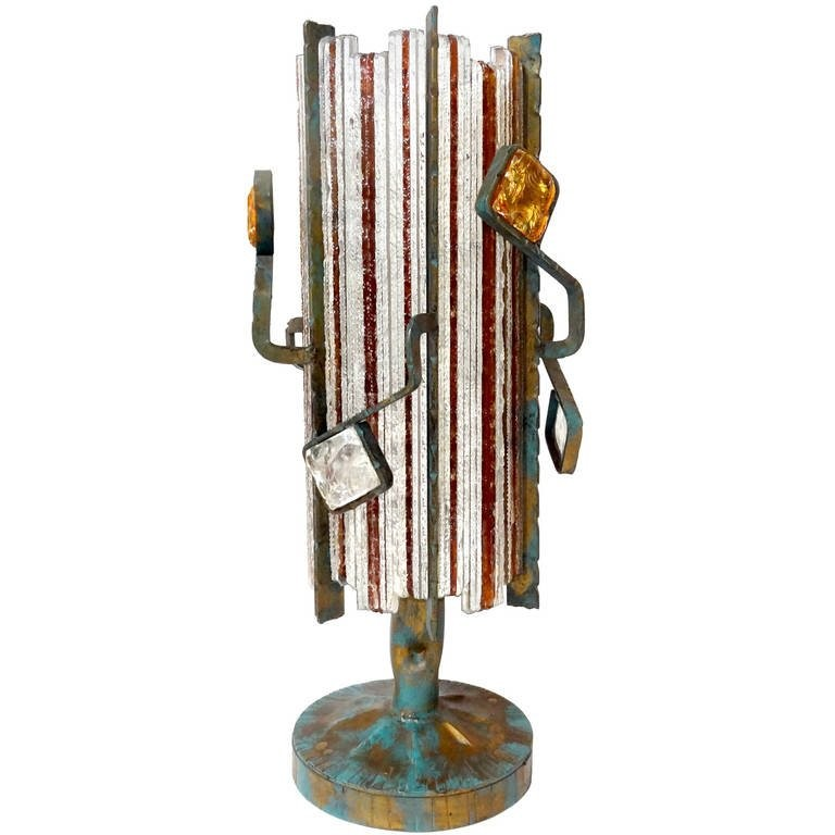 Abstract Patinated Bronze and Glass Lamp in the style of Poliarte
