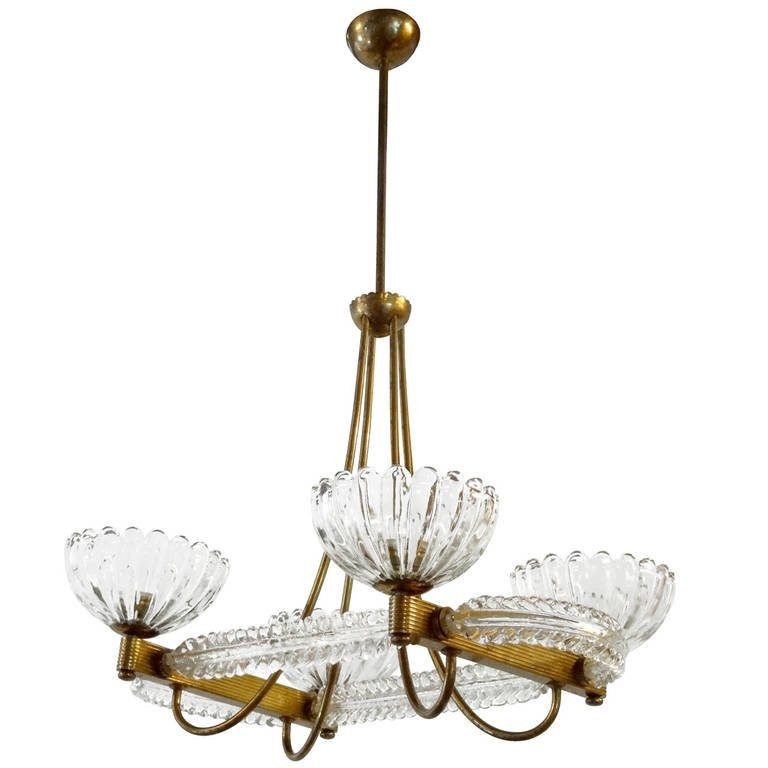 Brass and Glass Chandelier by Barovier e Toso - Lighting - inventory