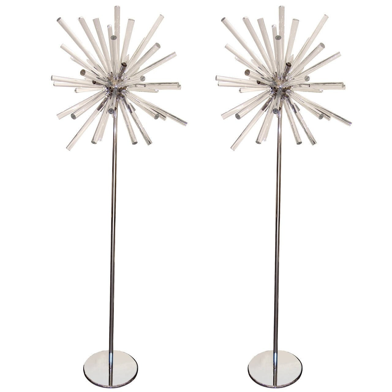 Pair of Stainless Steel and Glass Sputnik Floor Lamps