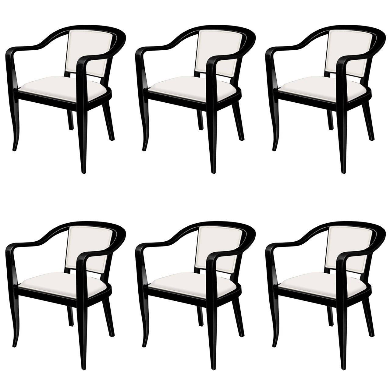 Set of Six Ebonized Mahogany Dining Chairs by Dunbar
