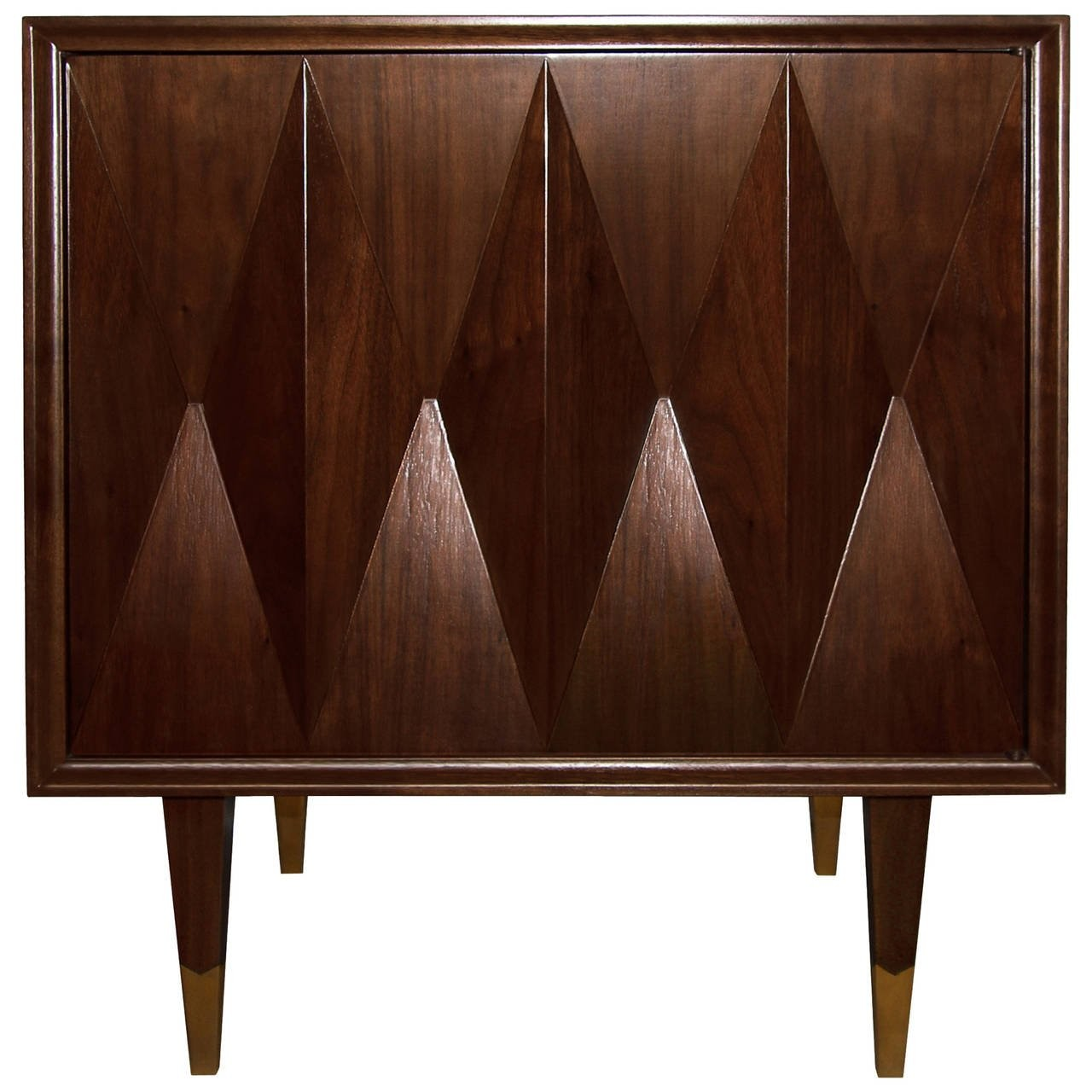 Faceted Walnut Side Table