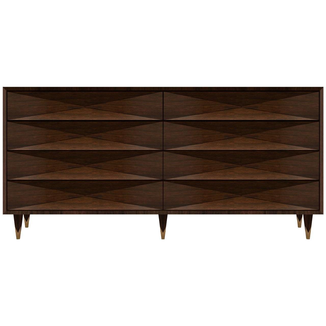 Faceted Walnut Dresser or Credenza
