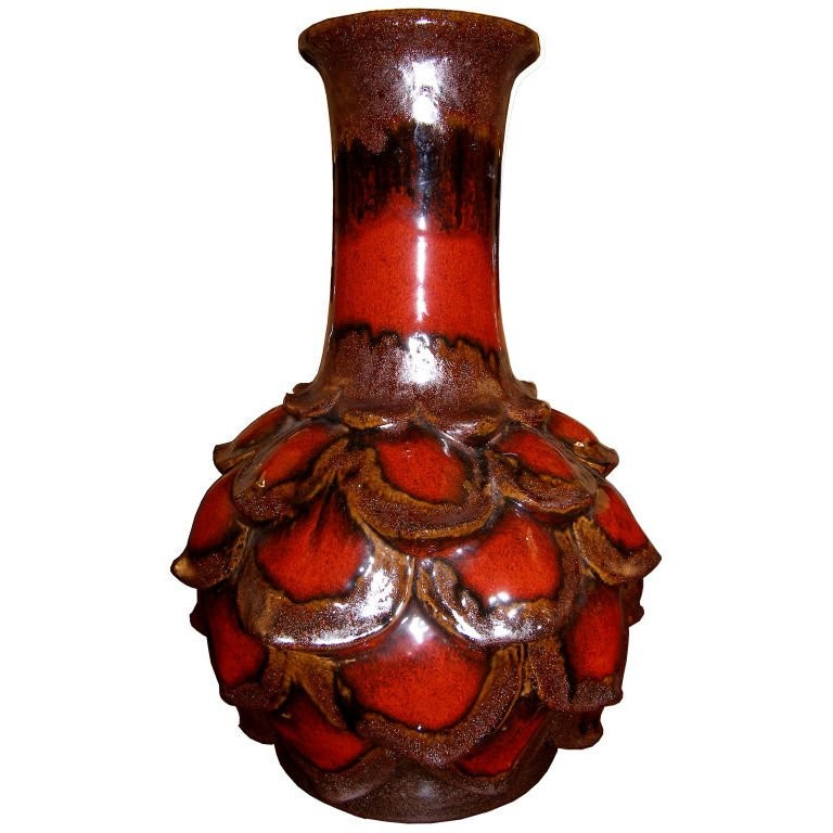 West German Ceramic Flower Petal Vase by Walter Gerhards