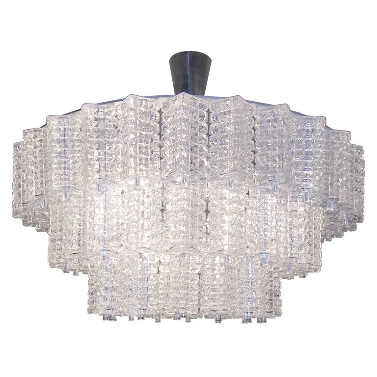 Orrefors 3 Tiered Crystal Chandelier