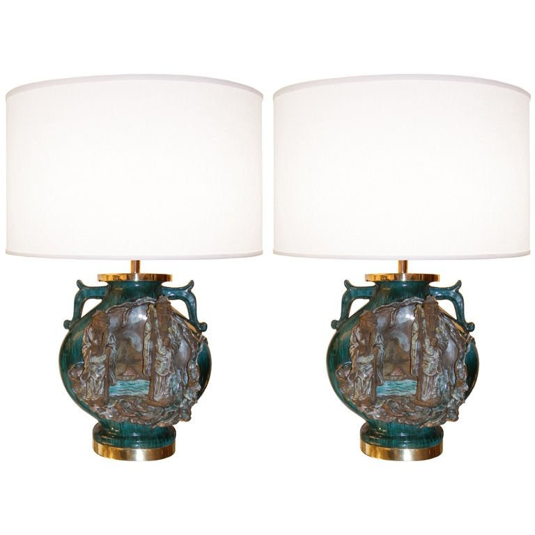 Pair of Marcello Fantoni Ceramic Urn Lamps