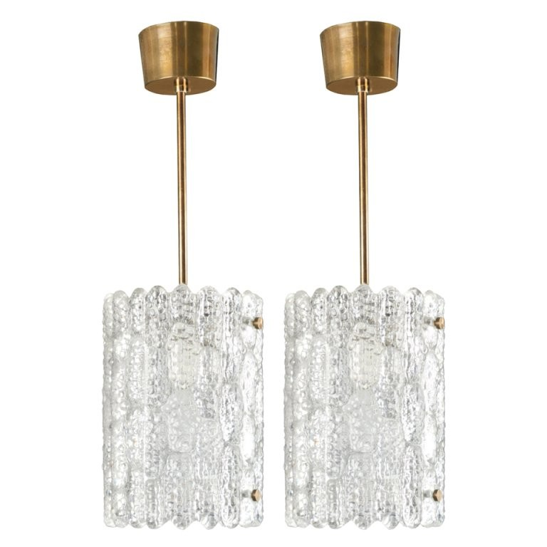 Pair of Carl Fagerlund for Orrefors Glass Pendant Fixtures / 2 Pair Available