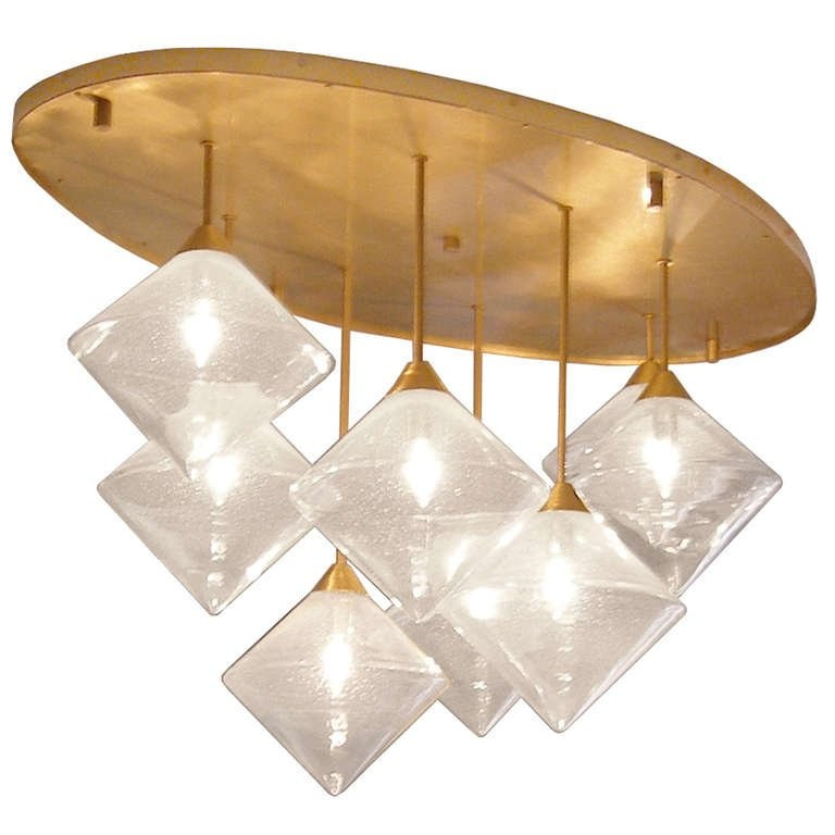 Brass and Glass Ceiling Fixture
