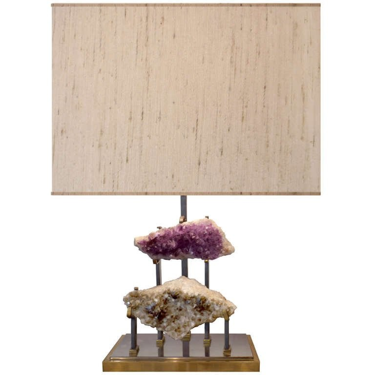 French Bronze and Steel Lamp with Amethyst and Crystal Clusters