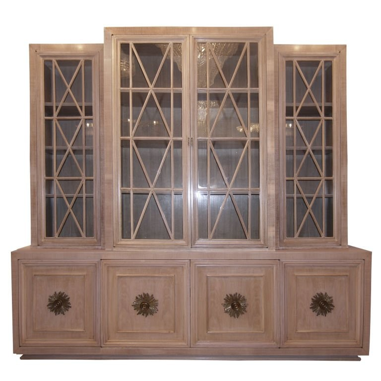 Cerused Walnut Buffet with Paned Glass Doors
