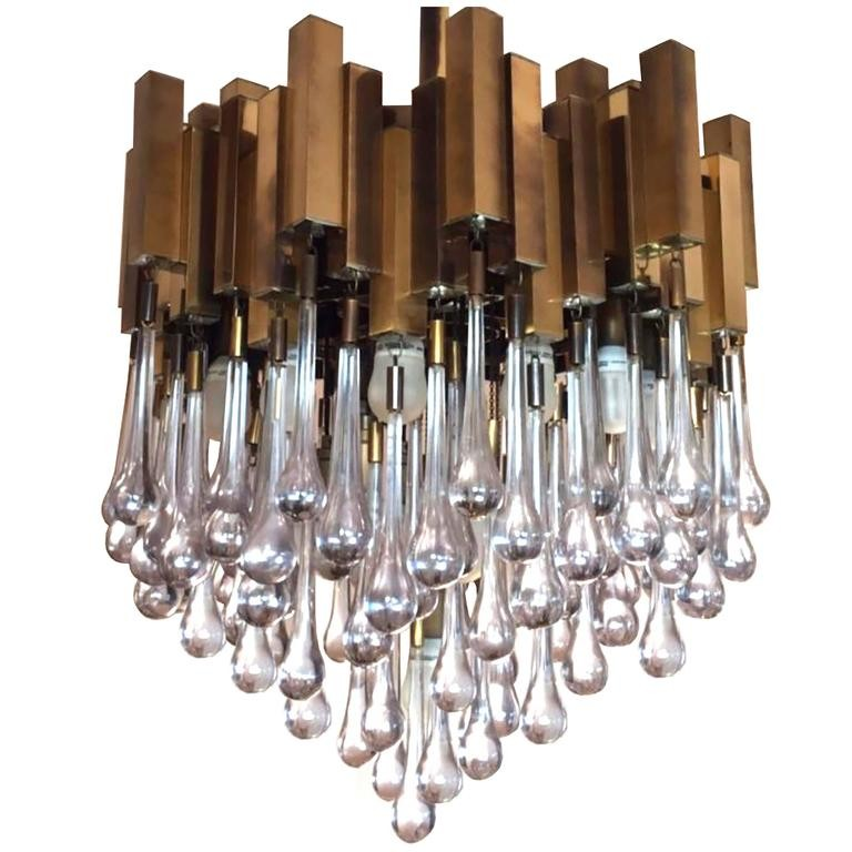 Brass Chandelier With Teardrop Glass By Gaetano Sciolari Chandeliers And Pendants Lighting Inventory