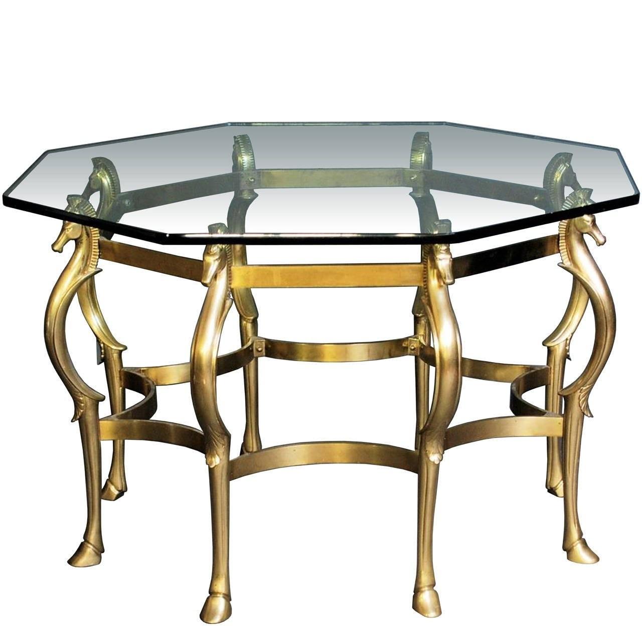French Octagonal Shape, Bronze Horse Motif Center Table