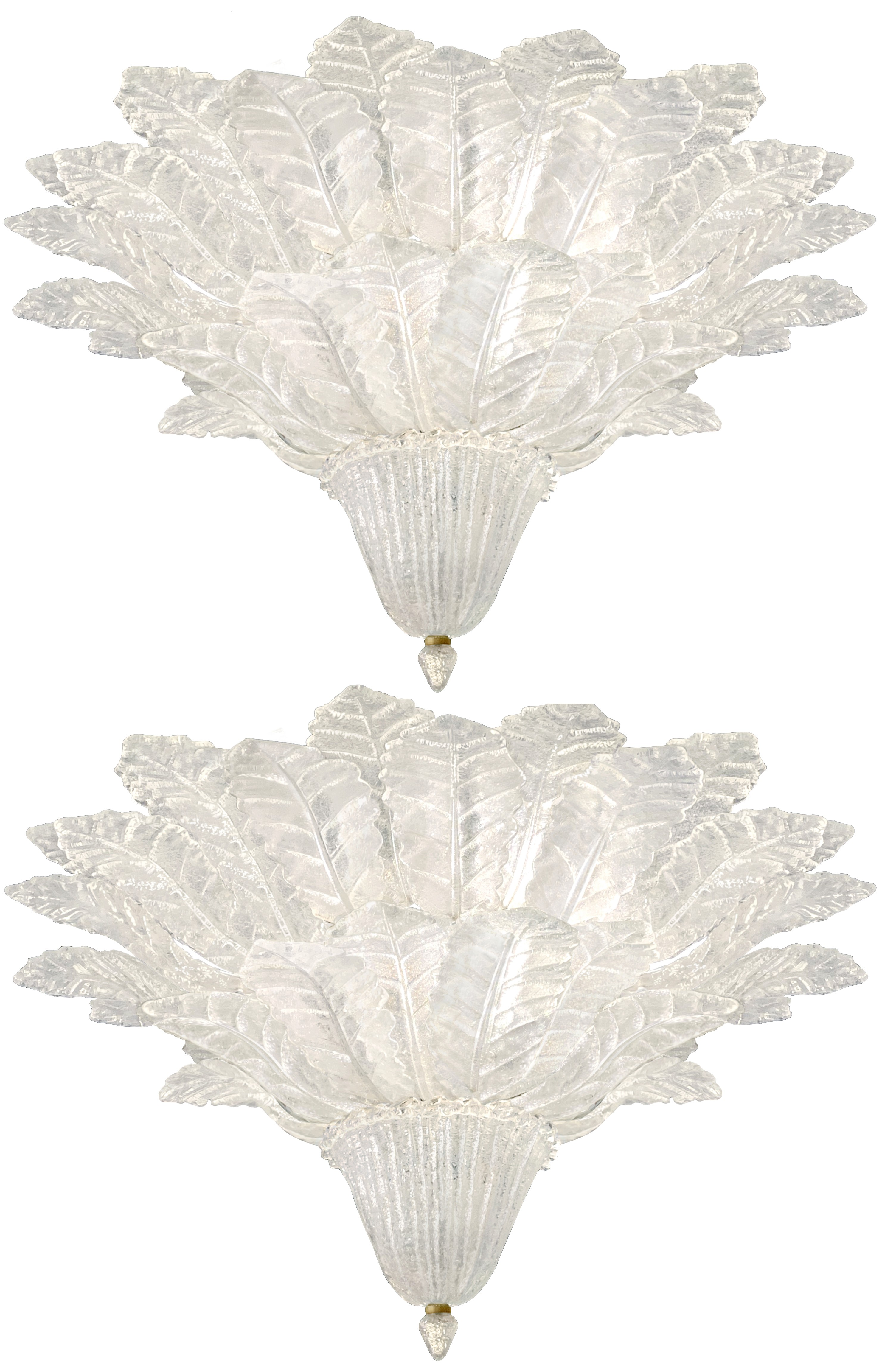 Pair of Barovier & Toso Glass Plume Chandeliers