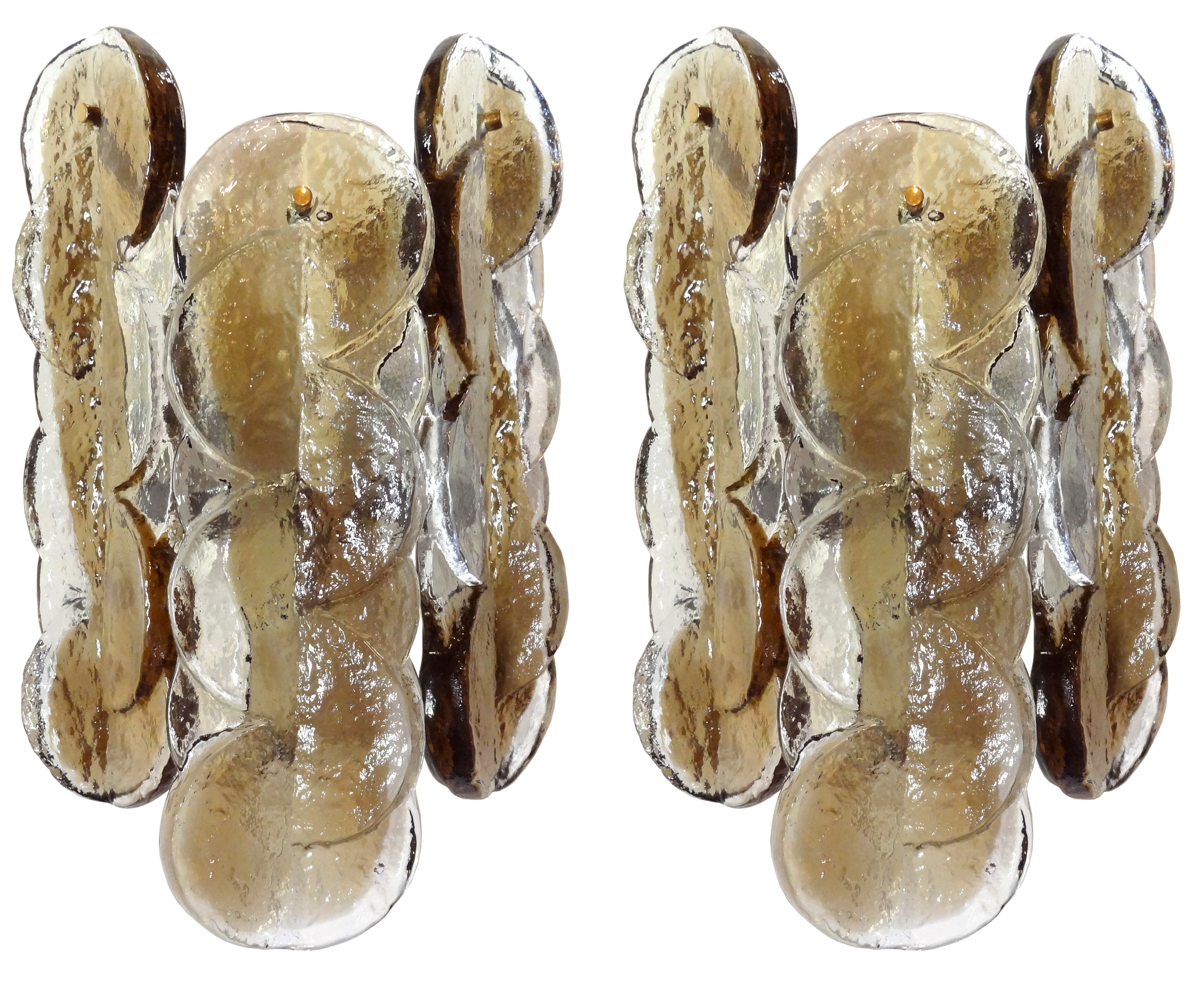 Pair of Mazzega Taupe and Clear Glass Sconces (Eight Pair Availble)