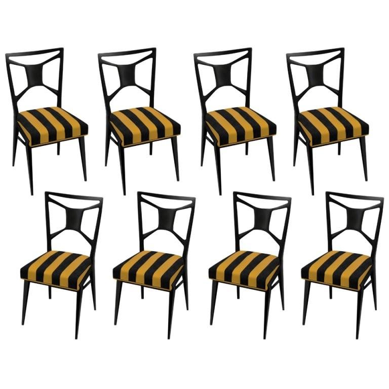 Set of 8 Italian Mahogany Dining Chairs