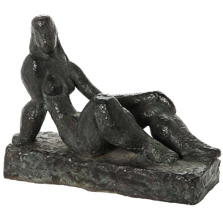 "Helge Holmskov (1912 - 1982) ""Model"" Bronze Reclining Figure"