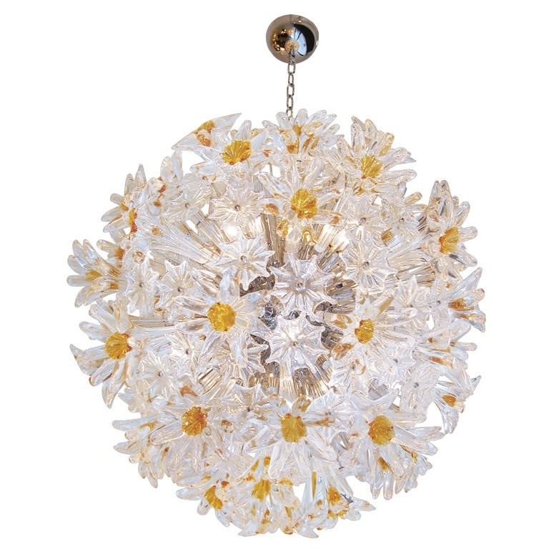 Venini Amber and Clear Esprit Chandelier
