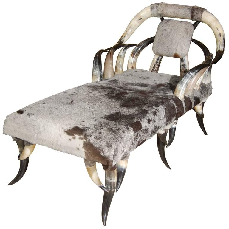 Horn cowhide chaise lounge inventory for Chaise lounge cowhide
