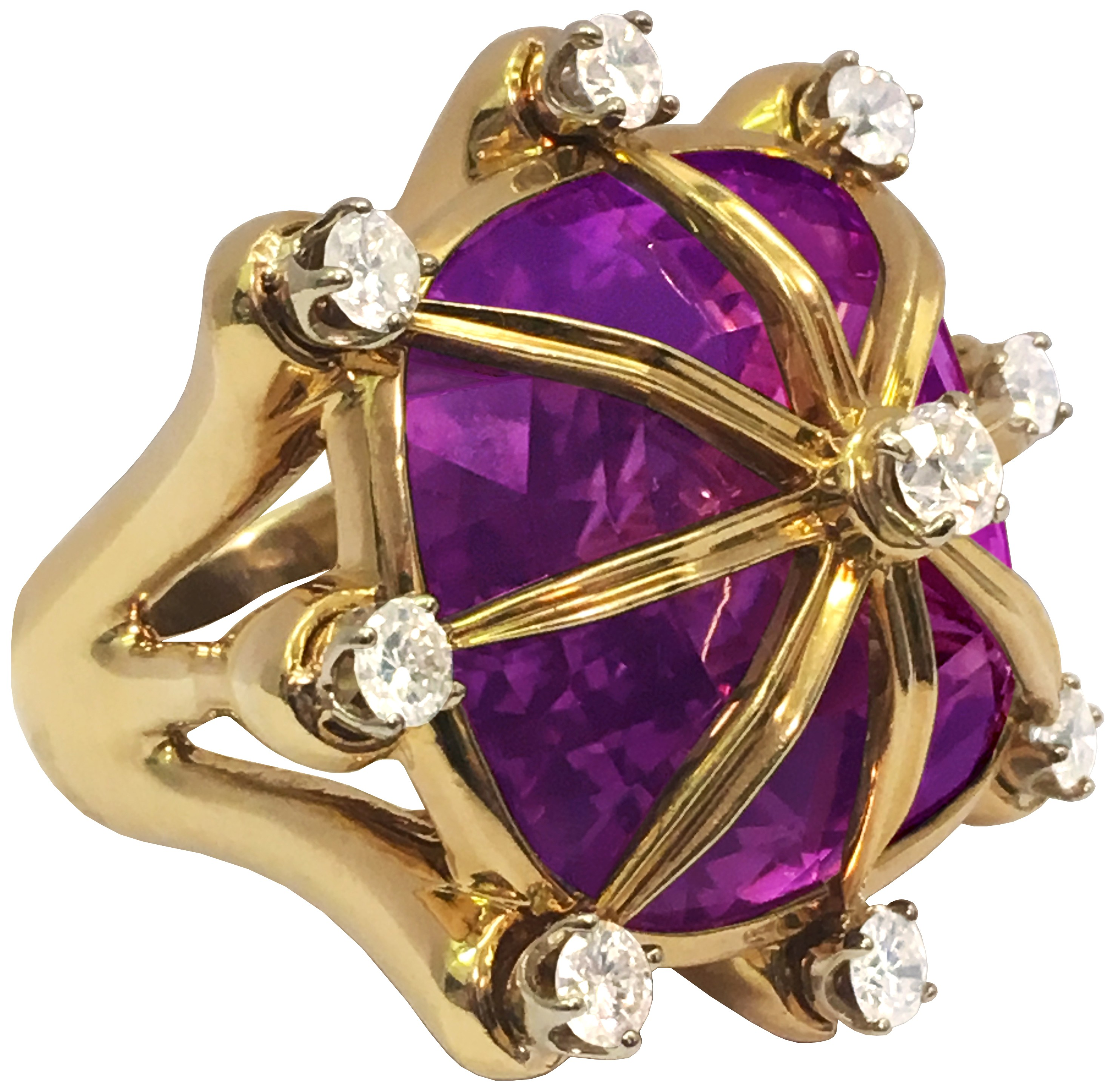 Amethyst, Diamond and 18K Gold Ring by Tony Duquette