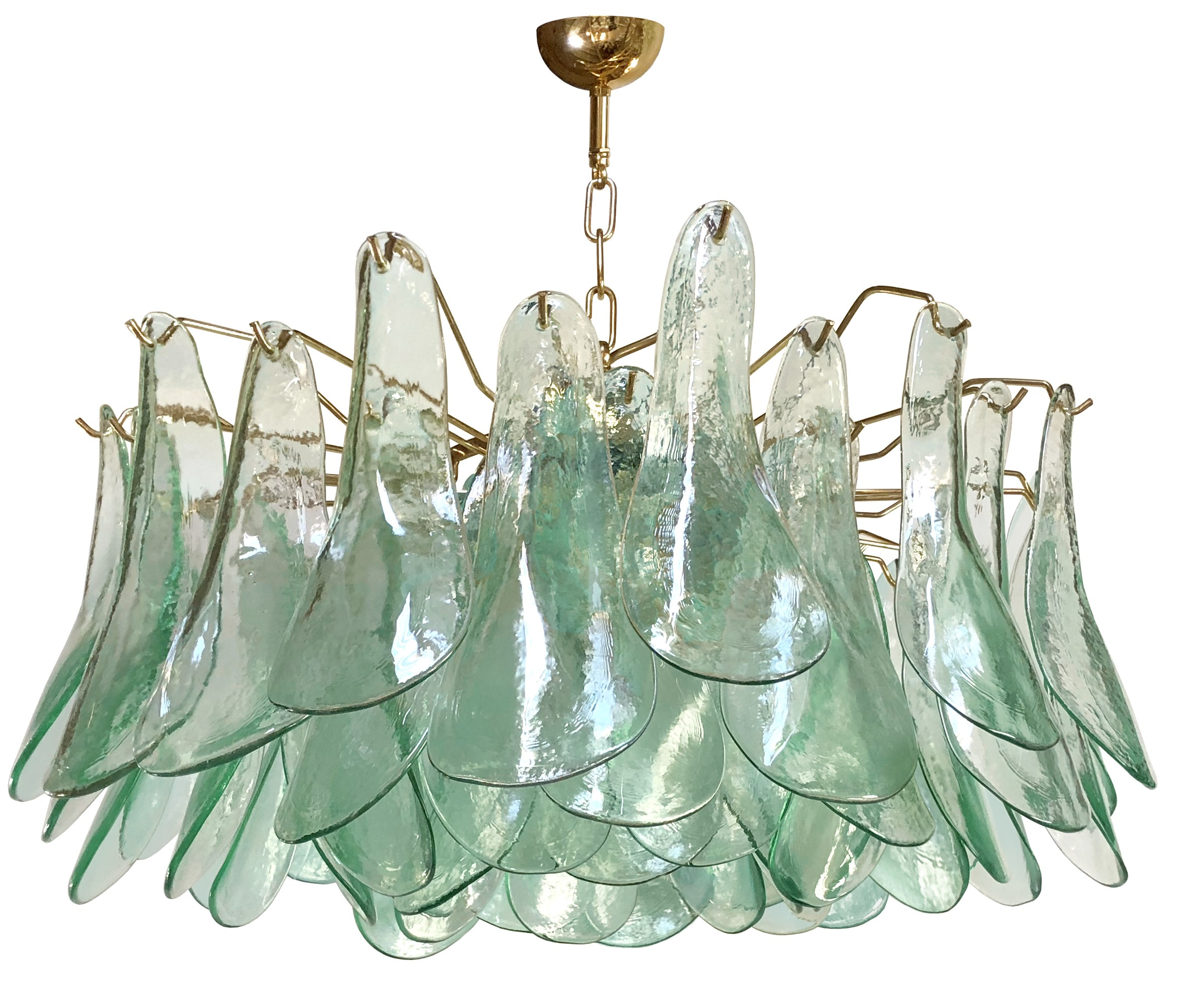 Green & Clear Glass Chandelier by Alfredo Barbini