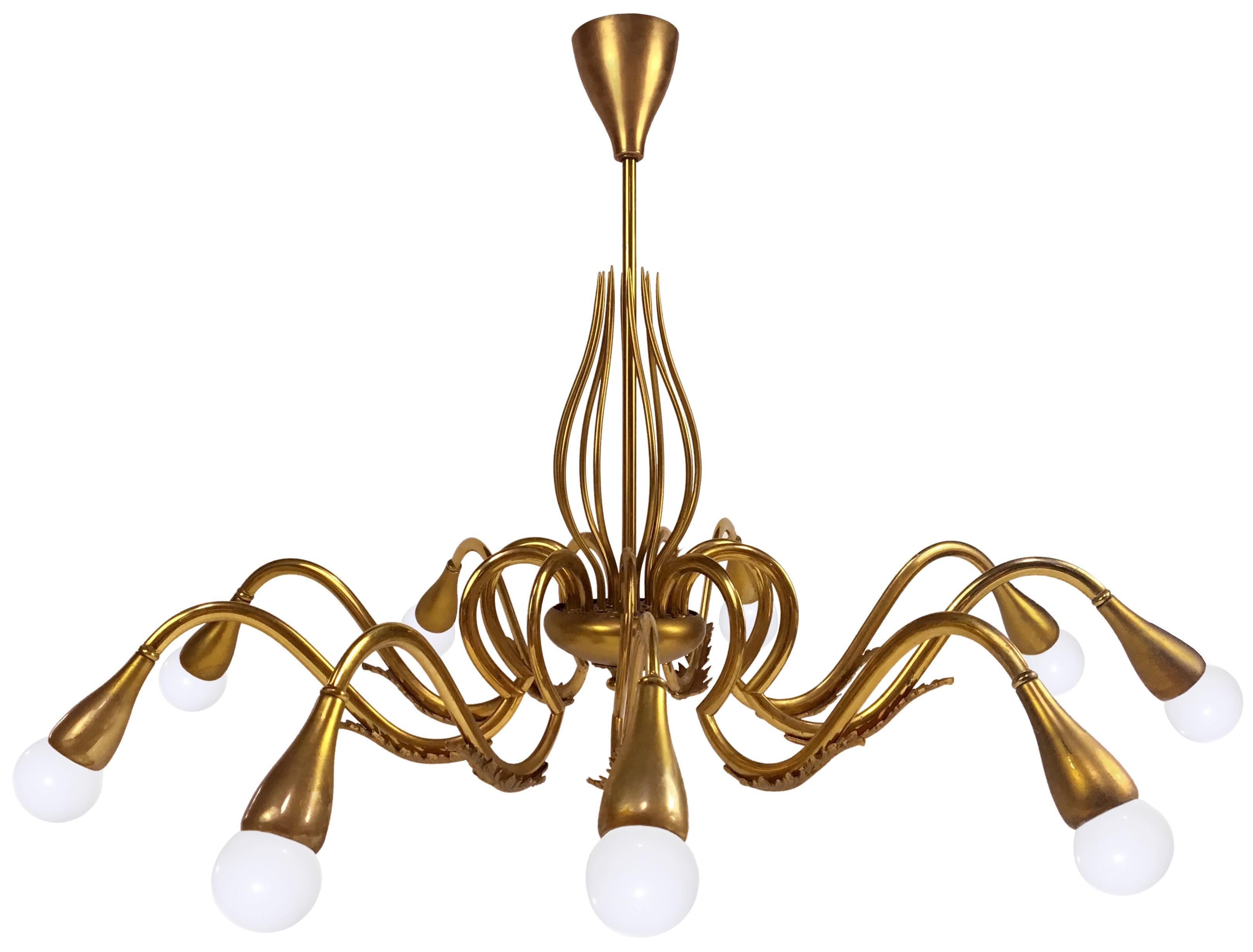 Large 1960s Italian Brass Chandelier