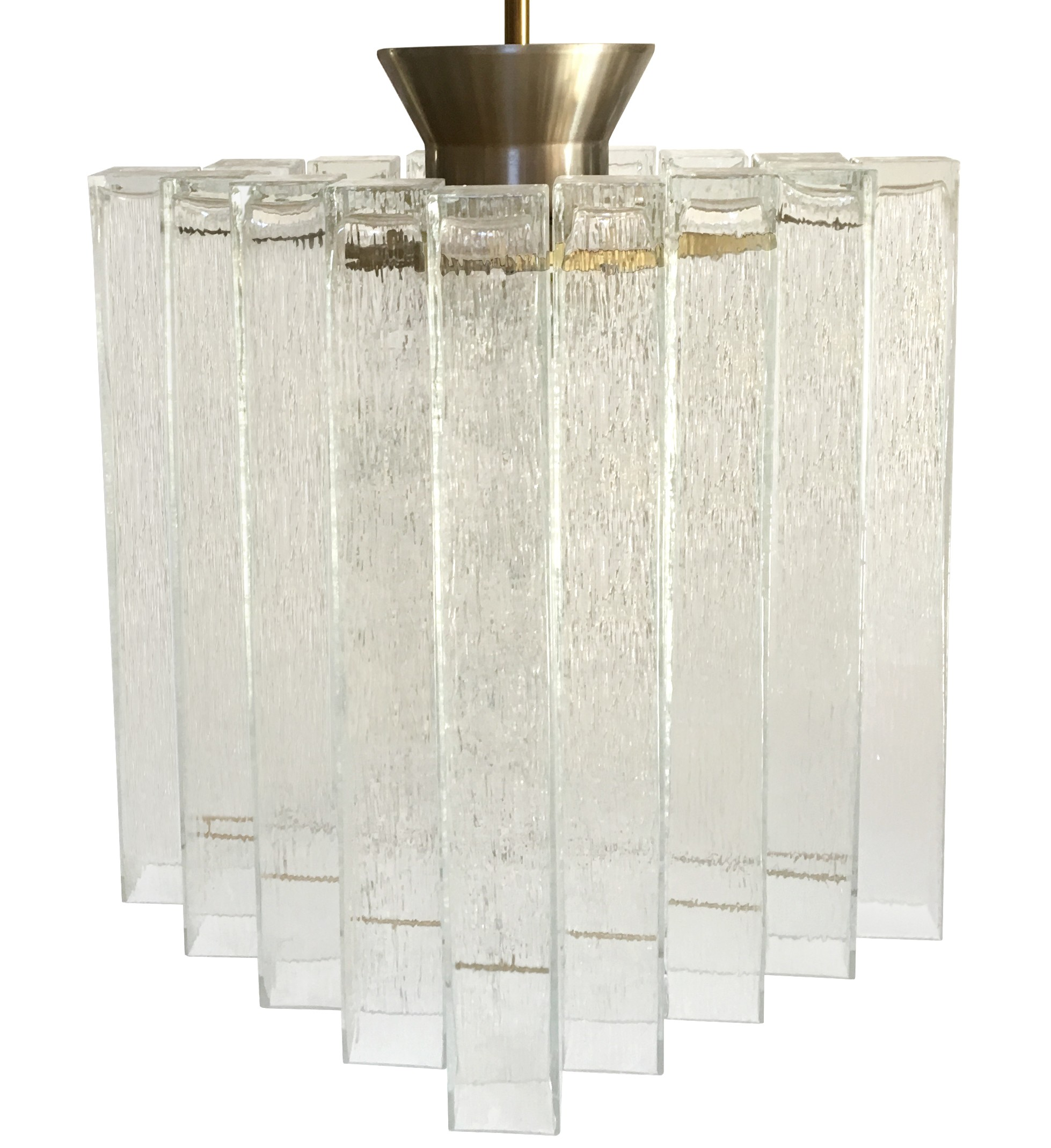 German Textural Glass Chandelier by Doria (2 Available)