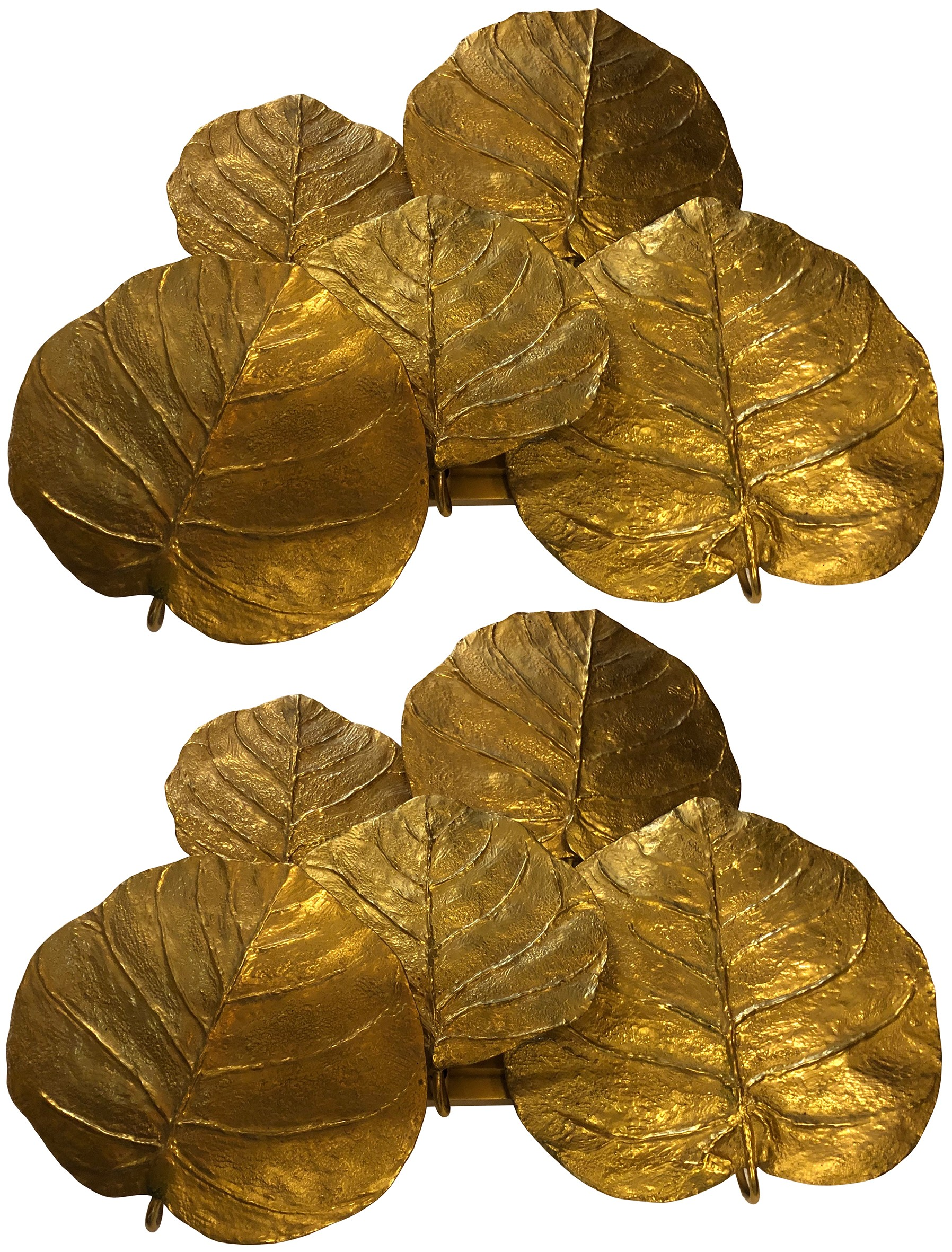 A Very Rare Pair of Gilt Bronze Leaf Sconces by Chrystiane Charles for Maison Charles