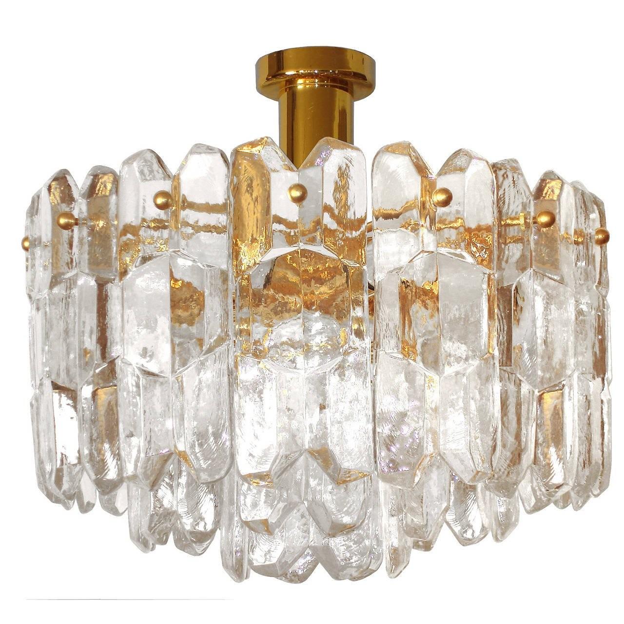 J. T. Kalmar Brass and Glass Chandelier