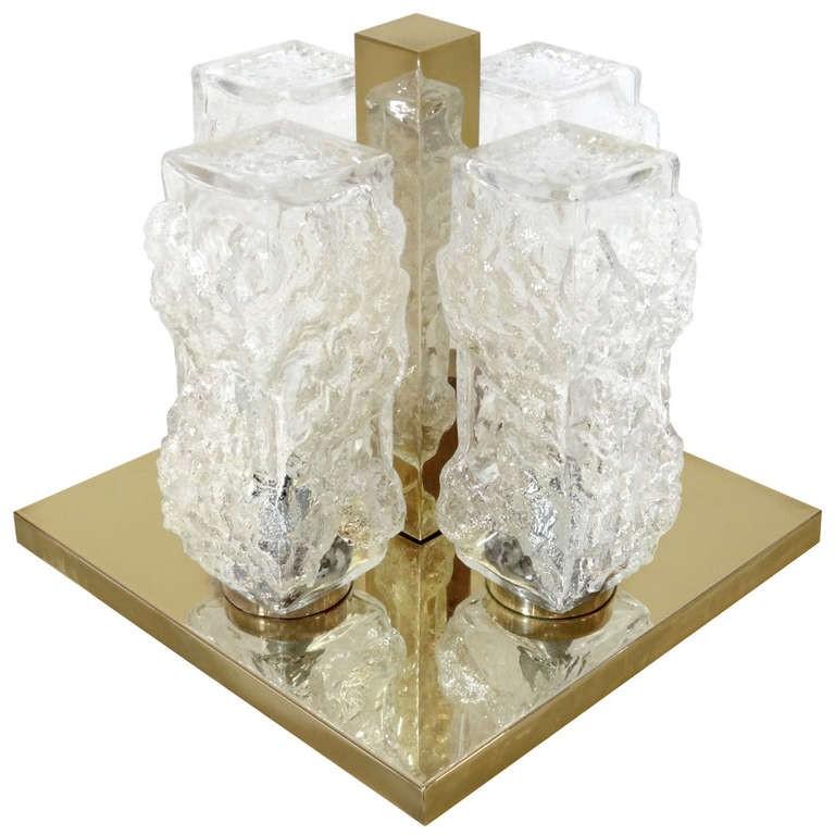 J.T. Kalmar Glass and Brass Ceiling Fixture