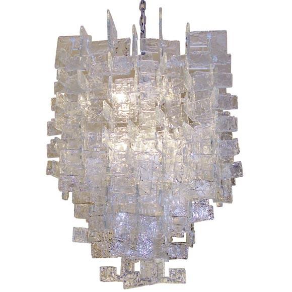 large mazzega chandelier interlocking glass c shapes