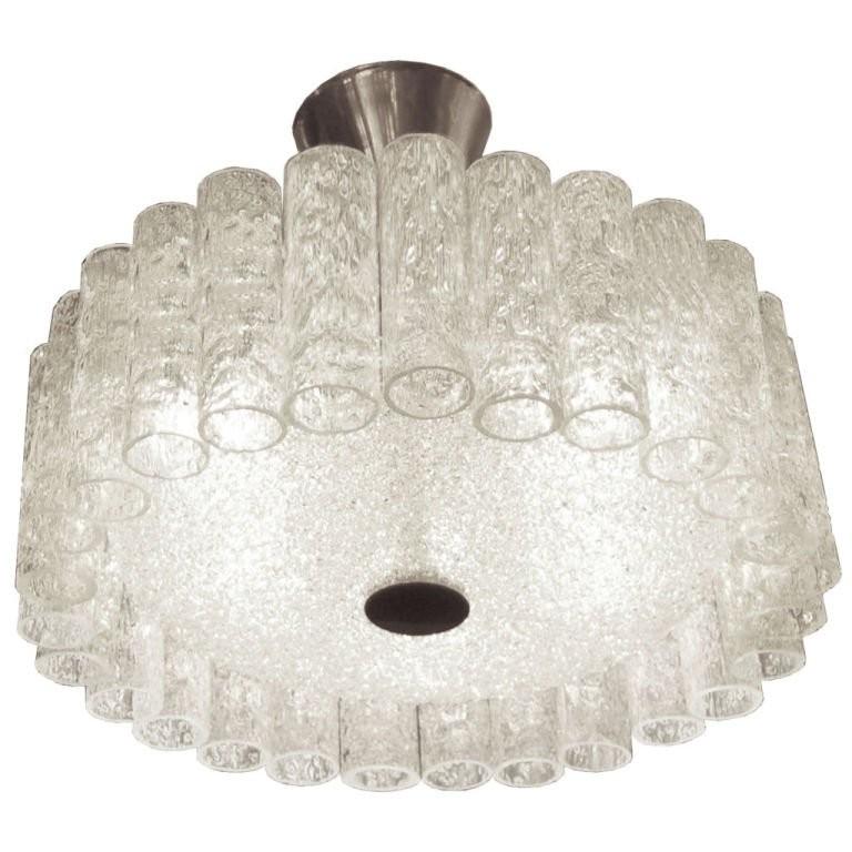 De Majo Tubular Glass Around Glass Disk Chandelier
