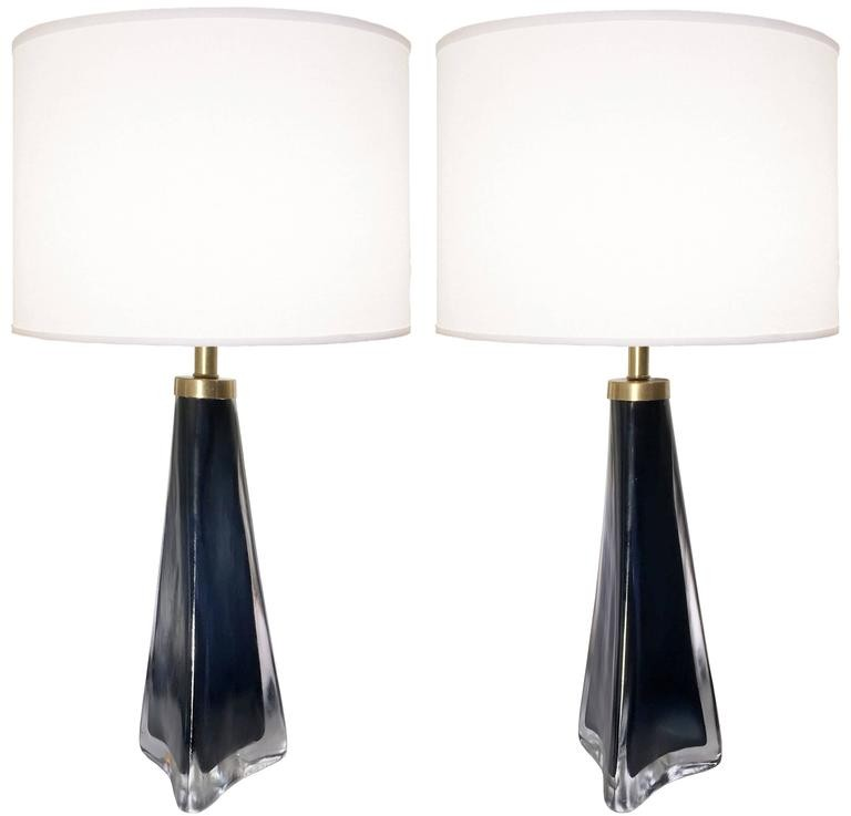 Pair of Nils Lamdberg for Orrefors Deep Blue and Clear Glass Lamps