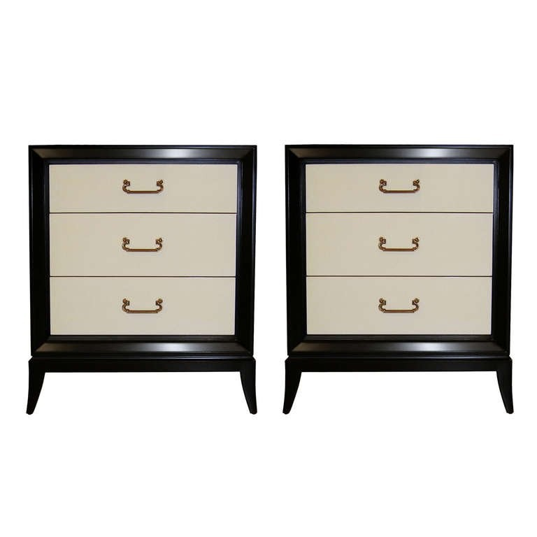 Pair of Ebonized Mahogany and Parchment Side Tables