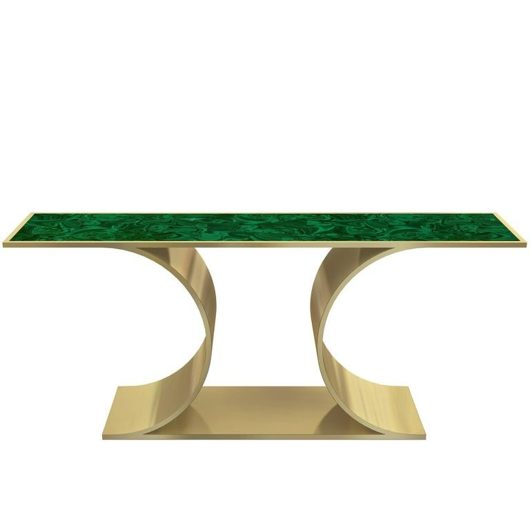 Laure Brushed Brass and Malachite Console Table