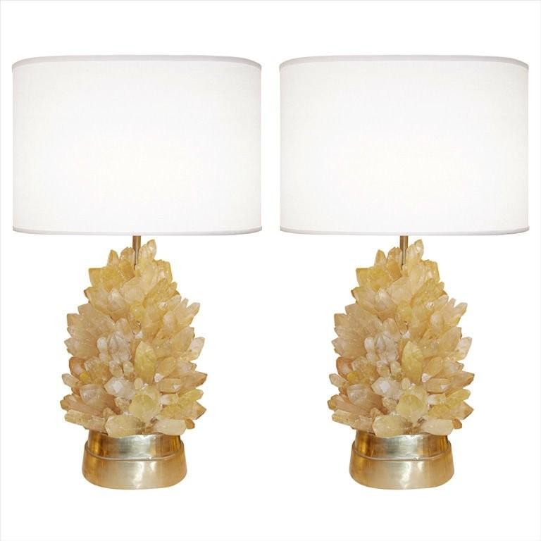 Pair of Amber Rock Crystal Lamps